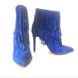 Steve Madden Cobalt Fringe Flapper Stiletto Boots